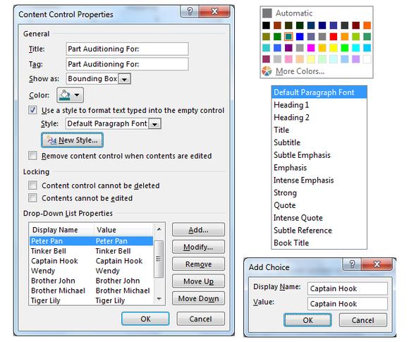 screen 04b content control properties dropdown list color etc