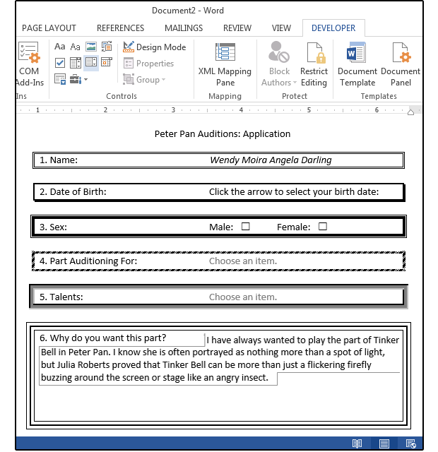 how to make a fill in form in word