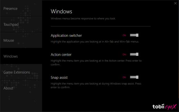 tobii eyex windows menus