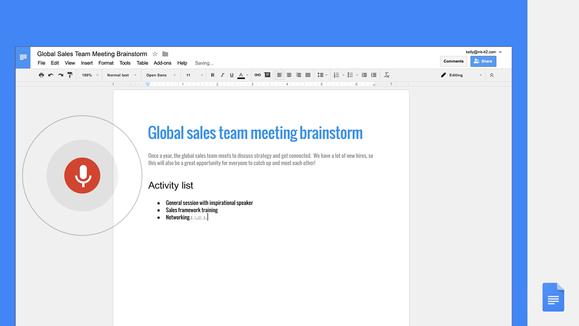 Google Docs voice commands