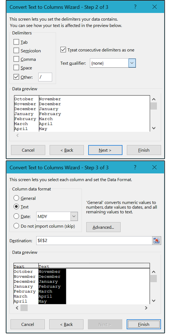 05 use a custom delimiter to split up the modern months column