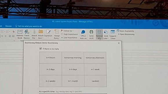 Custom Outlook button scheduling boomerang