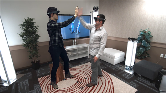 Shahram Izadi HoloLens high five