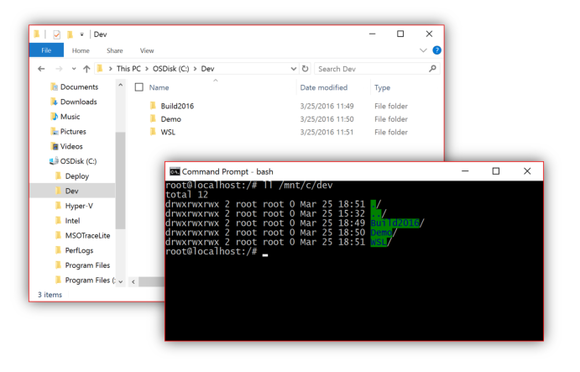 Bash accessing files on Windows 10.