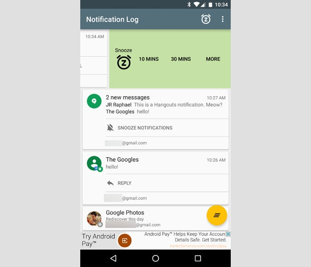 Android Notif Log App Snooze