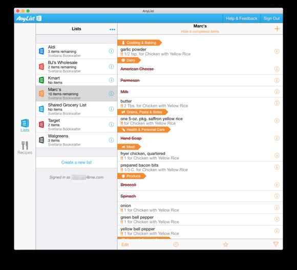anylist mac lists