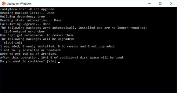 Apt-get on Ubuntu on Windows 10.