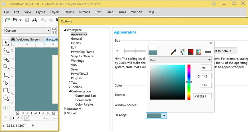 coreldraw graphics suite x8 7 customize the interface by choosing among four themes and picking window border and desktop colors
