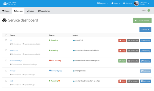 docker cloud dashboard