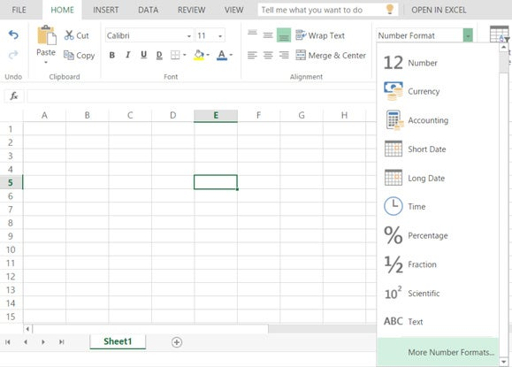 excel online numbers options