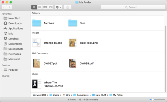 files arranged by