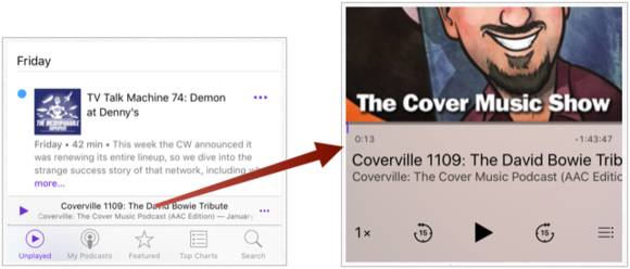 mac911 podcast app playback controls