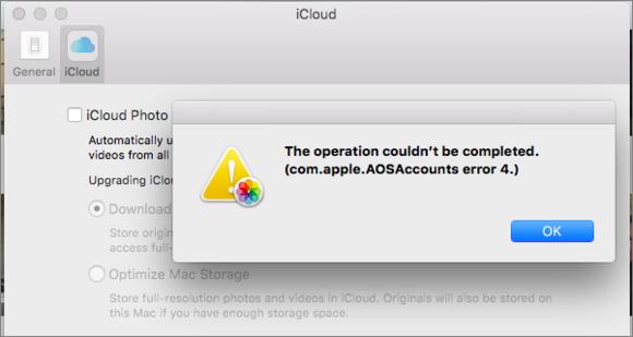 mac911 strange aos error in icloud