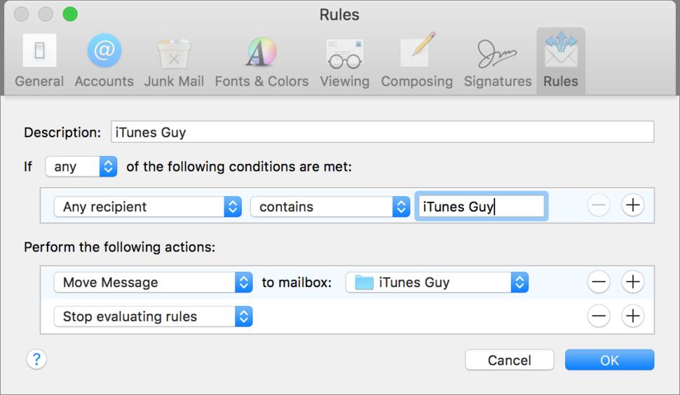 Create a Mail Rule