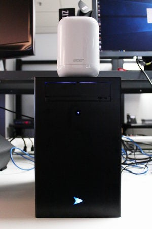 Acer Revo One sitting on top of Velocity Micro Raptor Z40