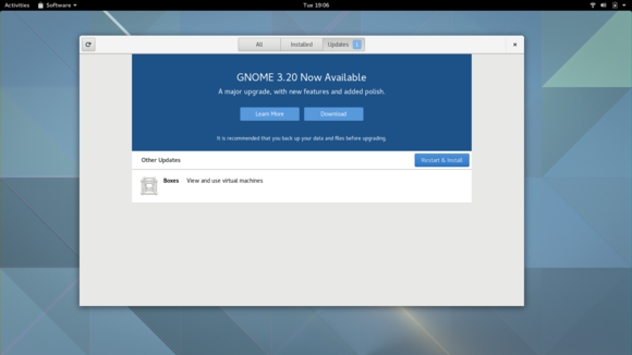 Operating system upgrades in GNOME's Software application