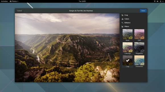 Photo-editing tools in GNOME's Photos app