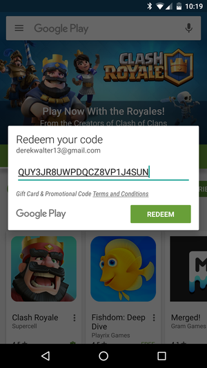 Google play coupon code