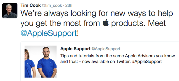 tim cook tweet apple support