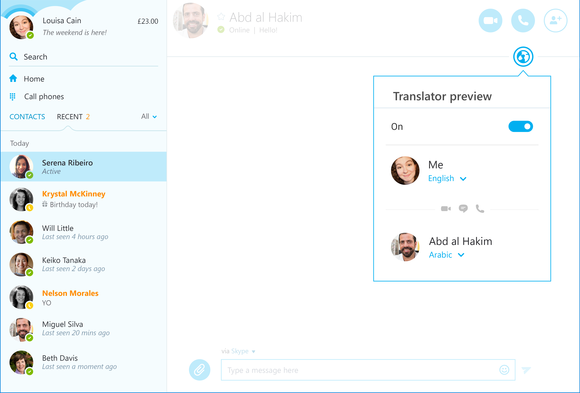skype translator arabic ui