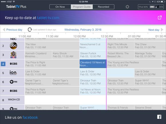 tablettv plus program guide