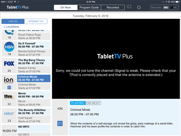tablettv plus signal is weak