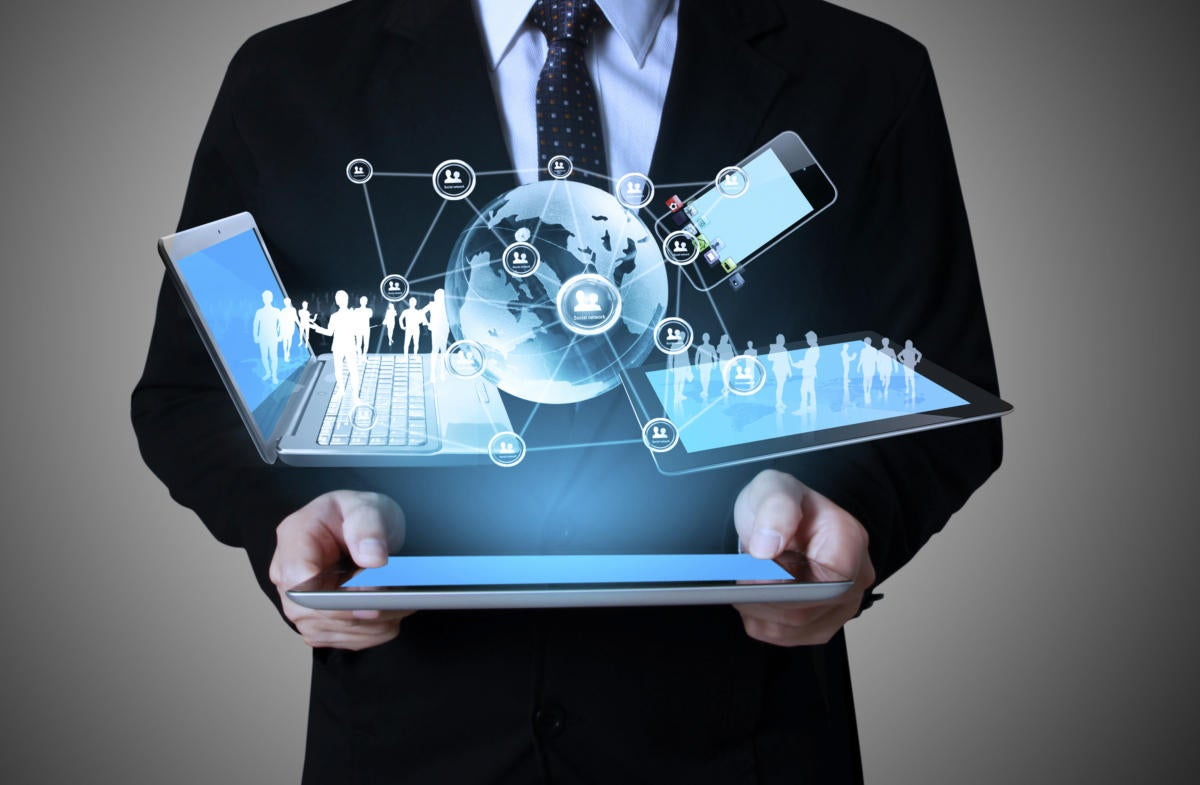 Man holding tablet with marketing automation