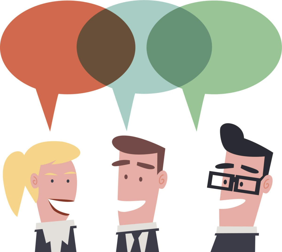 Retro business people with speech bubbles and buzz words