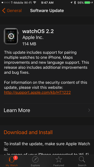 watchos 2.2 update