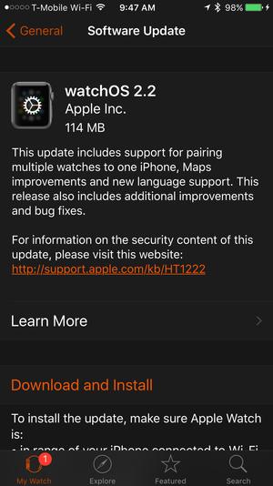 watchos 2.2 update