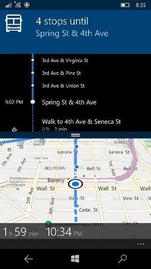 Microsoft windows 10 mobile maps public transportation