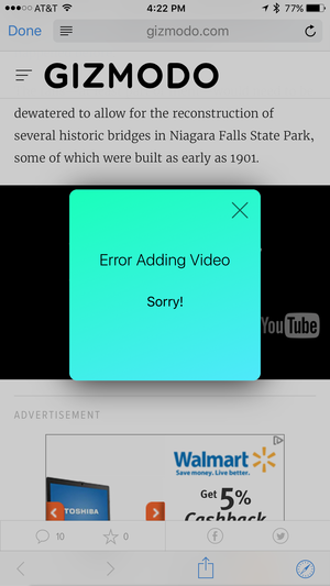 zinc iphone error adding video