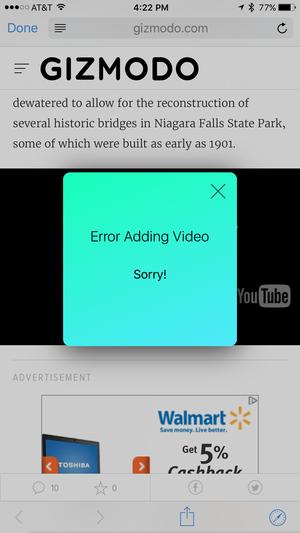 zinc iphone error adding video