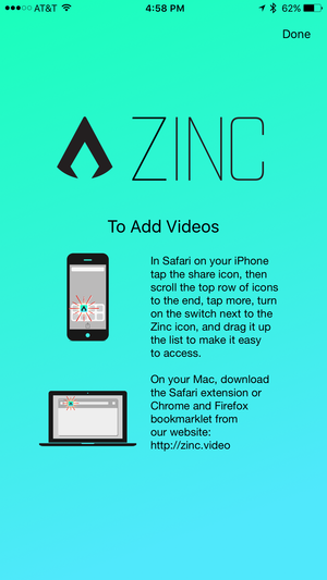 zinc iphone how to add videos