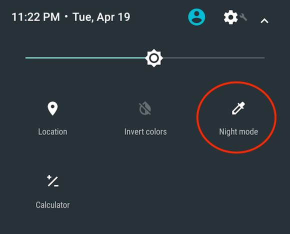 Android N night mode quick settings toggle