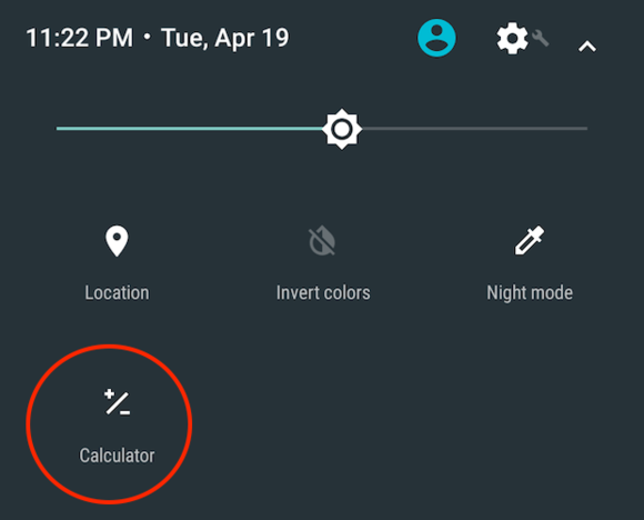 Android N quick settings calculator