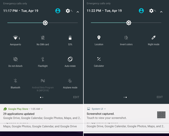 Android N quick settings pages