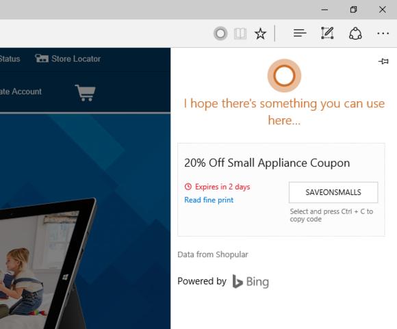 best buy deals via Cortana on Edge