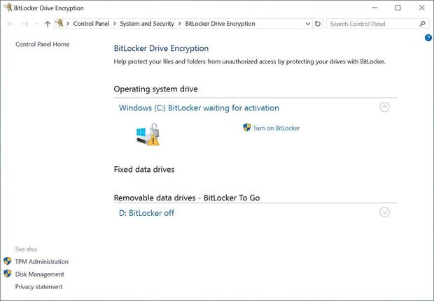 checking that Windows BitLocker encryption is enabled