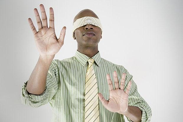 blindfold black man