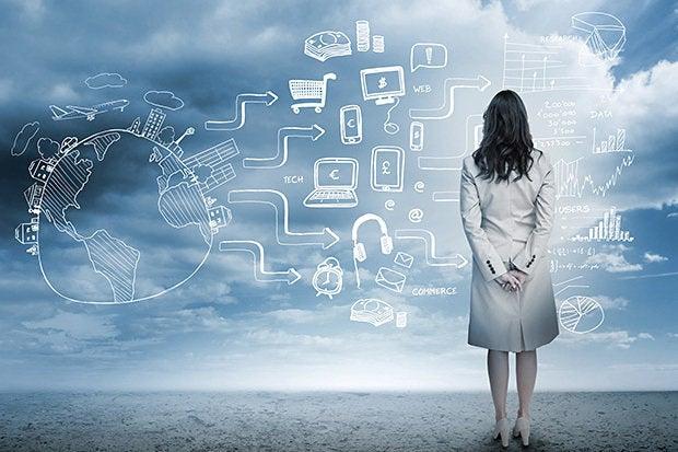 cloud businesswoman skills