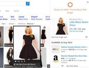 Microsoft edge little black dress Cortana results