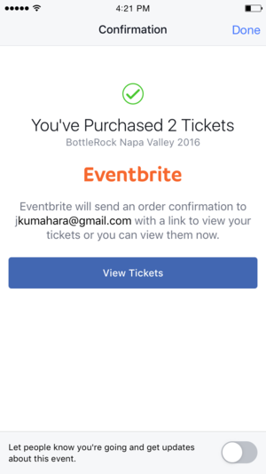 eventbrite facebook app