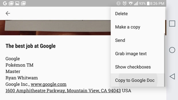 google keep tips docs