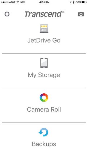 jetdrive go iphone main menu