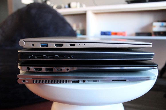 LG Gram 15 Stacked on Top of Rival 15-inch Laptops, Side View