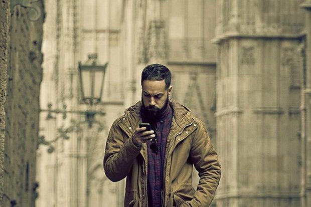 man phone outdoors