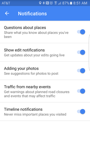 maps notifications