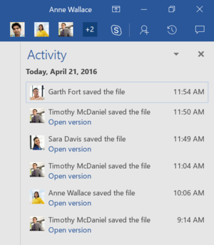 office 2016 activity hub