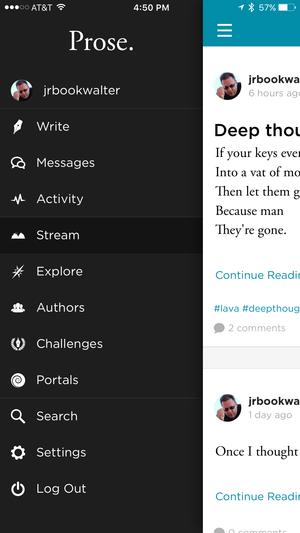 prose. iphone sidebar menu